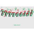 uae garland flag with confetti vector image