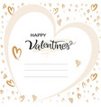 valentines greeting card typographic with hand vector image