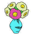 vase of flowers cartoon hand drawn image vector image vector image