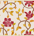 wallpaper seamless vintage red flower pattern vector image