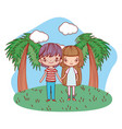 young couple smiling outdoors cartoon vector image