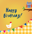 Happy birthday card for the kids with owl and vector image