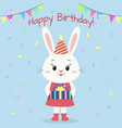 a white rabbit in a dress and a hood stands and vector image vector image