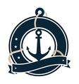anchor maritime emblem icon vector image