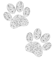 animal paw print on white background vector image vector image