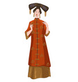 asian woman wearing traditional chinese clothes vector image vector image