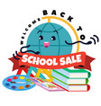 back to school sale supplies stationery logo vector image vector image