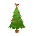 beautiful elegant green christmas tree bright vector image vector image