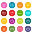 bicycle types icons set colorful circles vector image vector image