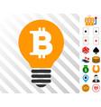 bitcoin lamp icon with bonus vector image vector image