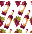 bottle wine and grapes seamless pattern vector image vector image