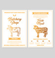 butchery shop poster with cow meat cutting charts vector image vector image