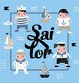 childish design with sailor boy marine children vector image