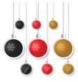 christmas ball sticker with snowflake vector image vector image