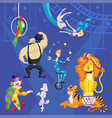 circus card with acrobat on bicycle clown lion
