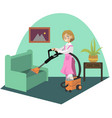 cleaning carpetr woman vector image
