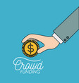 crowd funding poster of hand with coin in blue vector image vector image