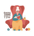 cute old lady is sitting in a red armchair and vector image