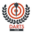 darts club banner with bullseye and laurel leaf vector image