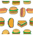 doodle of various burger fast food vector image vector image
