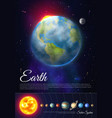 earth planet colorful poster with solar system