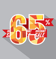 Flat Design Discount 65 Percent Off vector image vector image