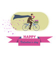 flat greeting card happy valentines day vector image