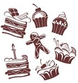 funny cakes collection vector image vector image