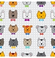 hand drawn doodle cartoon animal heads seamless vector image vector image