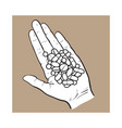 hand holding pile ofpills tablets in open palm vector image vector image