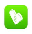heart clothes button icon green vector image vector image
