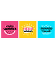 hello summer lettering card set vector image vector image