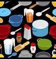 ingredients and tableware utensil seamless vector image vector image