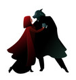little red riding hood and wolf dancing vector image