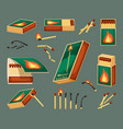 match flammable set an open matchbox full of vector image vector image