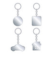 metal keychain realistic template set vector image
