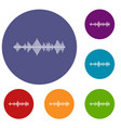 musical pulse icons set vector image vector image
