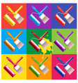 paint brush and roller vector image vector image