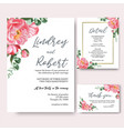 pink peony flowers watercolor bouquets invitation vector image vector image