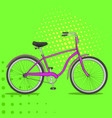 pop art bike the vehicle is pink comic book vector image