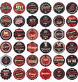 premium quality retro badges collection red set vector image