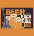 rock-n-roll banner with beer glasses and guitar vector image vector image
