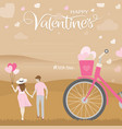 romantic moment of happiness couple hold hand vector image vector image