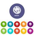 salami icons set color vector image vector image