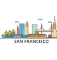 san francisco city skyline buildings streets vector image vector image