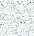seamless background contour funny monsters vector image vector image