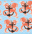seamless pattern with cheerful octopus and anchor vector image
