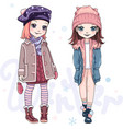 set girls in winter clothes vector image