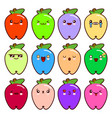 set of 12 modern emoticons cute cartoon apple with vector image vector image