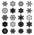 Set of black snowflakes vector image